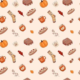 Ilustração em vetor de um padrão sem emenda de ícones-adesivos doodle sobre o tema outono. cores quentes, estilo de desenho animado aconchegante.