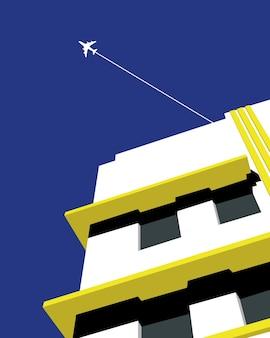 Ilustração em vetor de um prédio com um avião se movendo em cores quentes no verão