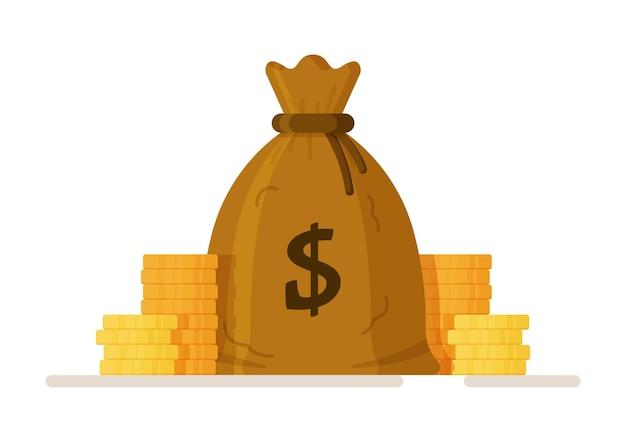 Ilustração em vetor de um saco de centavos pilha de saco de dinheiro de moedas e notas de dólar