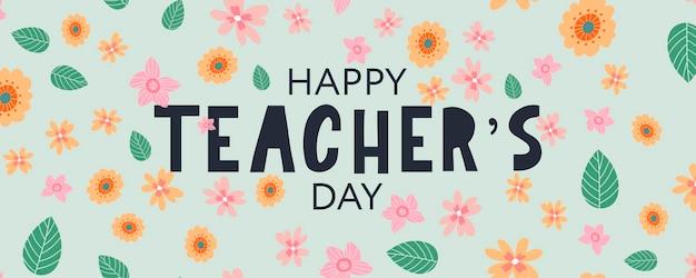 Ilustração em vetor de um texto elegante para flores do feliz dia do professor