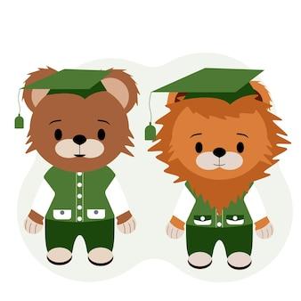 Ilustração em vetor de um ursinho de pelúcia e pupilas de filhote de leão em calças, coletes e camisas