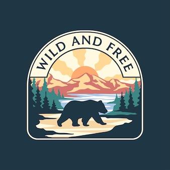 Ilustração em vetor de um urso andando na floresta