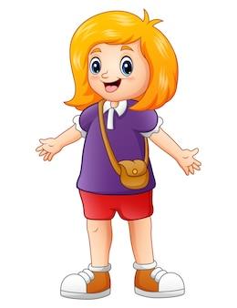 Ilustração em vetor de uma acenando de menina bonito dos desenhos animados