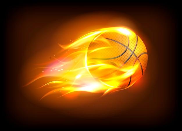 Ilustração em vetor de uma bola de basquete realista em uma chama de fogo, conceito de sucesso do esporte