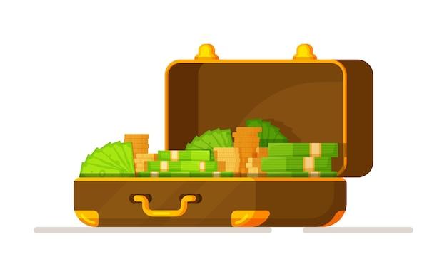 Ilustração em vetor de uma caixa de dólares isolada em um fundo branco. linda caixa com notas e moedas. fundo branco.