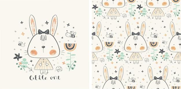 Ilustração em vetor de uma coelhinha no jardim com padrão sem emenda