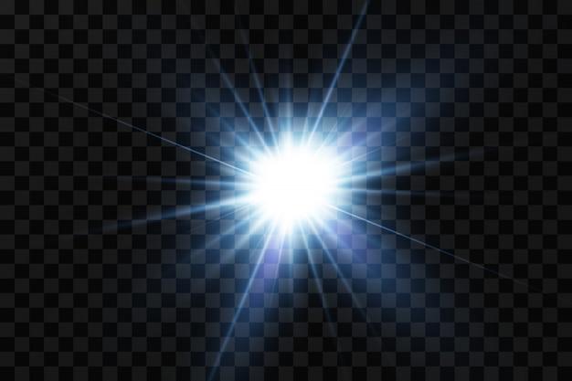 Ilustração em vetor de uma cor azul. efeito de luz brilhante. ilustração vetorial flash de natal. poeira, sol brilhante, flash brilhante.