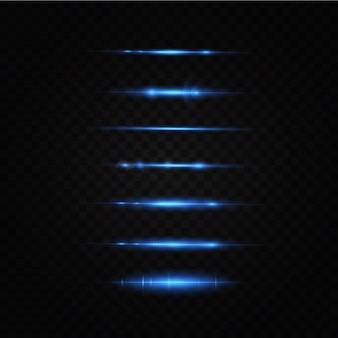 Ilustração em vetor de uma cor azul efeito de luz feixes de laser abstratos de luz raios de néon caóticos