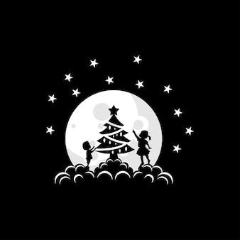 Ilustração em vetor de uma criança decorando uma árvore de natal na lua