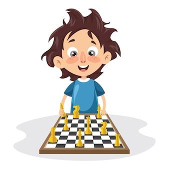 Ilustração em vetor de uma criança jogando xadrez