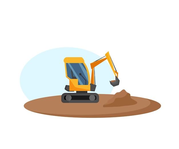 Ilustração em vetor de uma escavadeira durante a operação equipamento de construção desenho animado