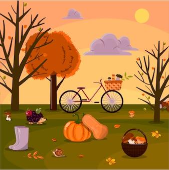 Ilustração em vetor de uma floresta de parque de outono com cogumelos e animais e colheita