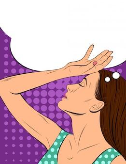 Ilustração em vetor de uma garota atraente no estilo pop art. uma jovem mulher segura uma mão perto da cabeça.