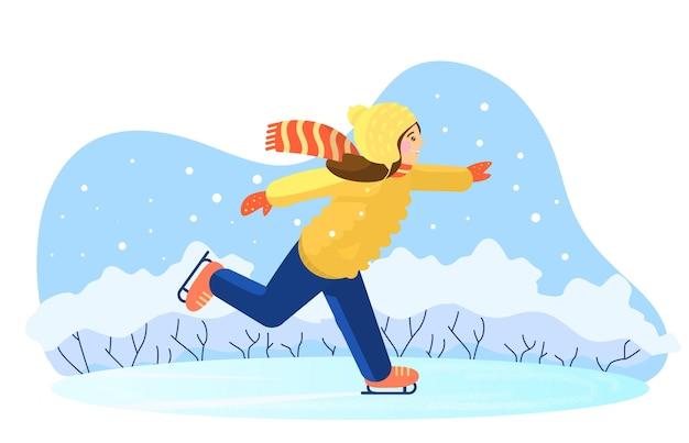 Ilustração em vetor de uma garota patinando no gelo na pista de gelo. fundo de inverno.