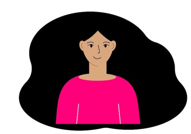 Ilustração em vetor de uma linda mulher com cabelos exuberantes