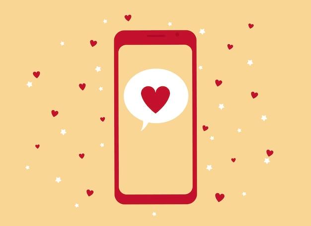 Ilustração em vetor de uma mão segurando um telefone celular com uma imagem de coração vermelho.