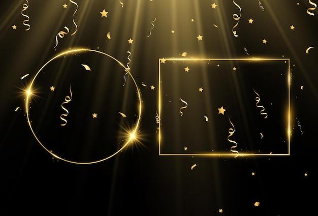 Ilustração em vetor de uma moldura de ouro com uma pincelada