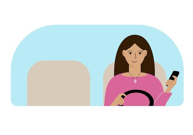 Ilustração em vetor de uma mulher com uma das mãos controla um carro e um telefone celular na outra