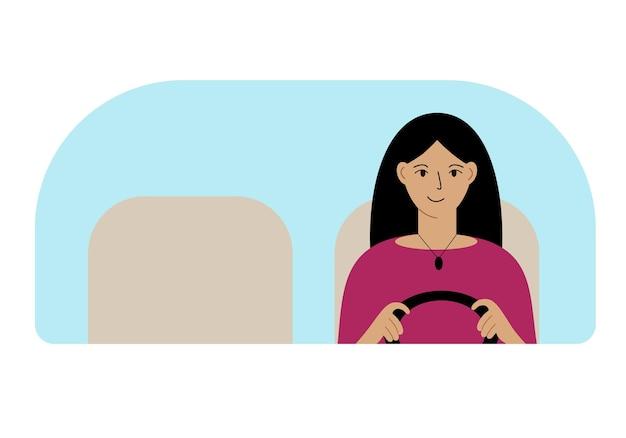 Ilustração em vetor de uma mulher dirigindo. olha pelo para-brisa