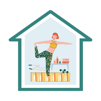 Ilustração em vetor de uma mulher fazendo exercícios em casa em uma quarentena de coronavírus