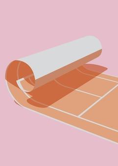 Ilustração em vetor de uma quadra de tênis enrolada