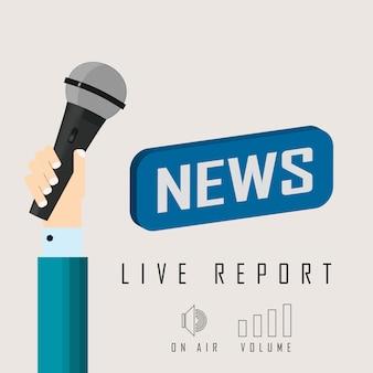 Ilustração em vetor de uma reportagem ao vivo com notícias e microfone de botão.