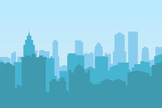 Ilustração em vetor de uma silhueta no centro da cidade com um céu azul