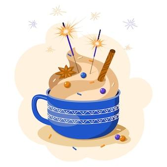 Ilustração em vetor de uma xícara vermelha aconchegante de chocolate quente com cobertura, confete e estrelinhas. feliz natal e feliz ano novo. pode ser composto e usado para cartões postais, convites, artigos de papelaria.