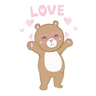 Ilustração em vetor de ursinho fofo segurando coração vermelho.