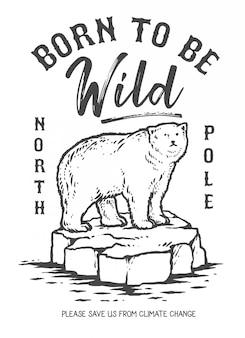 Ilustração em vetor de urso polar no gelo derretendo