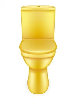 Ilustração em vetor de vaso sanitário dourado