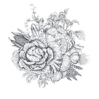 Ilustração em vetor de vegetais de fazenda de vetor desenhado à mão em estilo de desenho