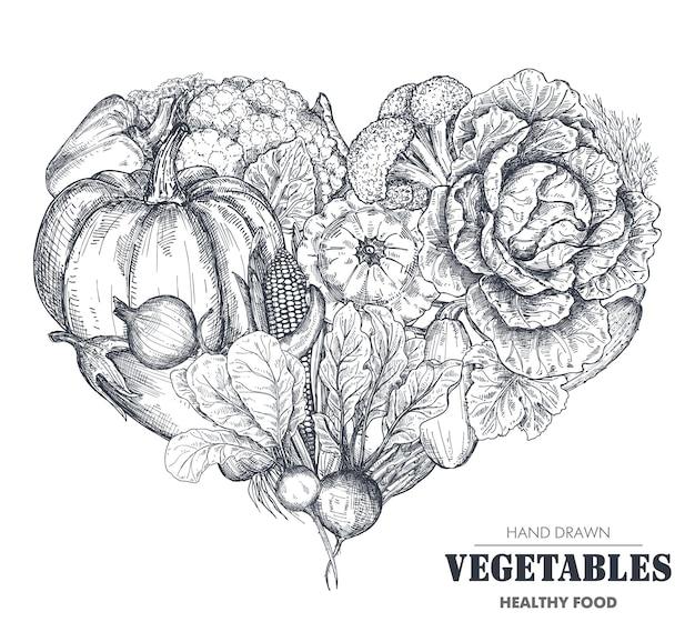 Ilustração em vetor de vegetais de fazenda de vetor desenhado à mão em forma de coração.