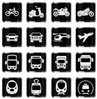 Ilustração em vetor de veículo monocromático simples e transporte