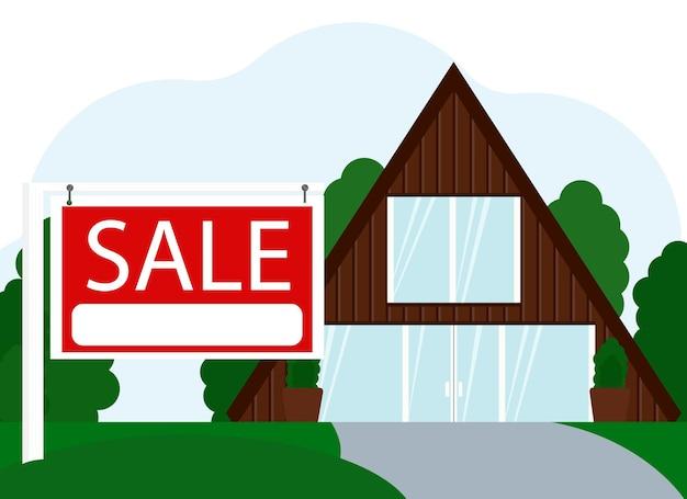 Ilustração em vetor de venda de um grande edifício residencial ao lado de uma placa com o texto venda