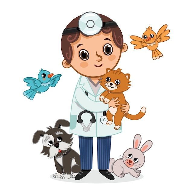 Ilustração em vetor de veterinário e animais