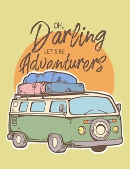 Ilustração em vetor de viagem de carro de aventura