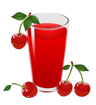 Ilustração em vetor de vidro com suco de cereja vermelho e cerejas.