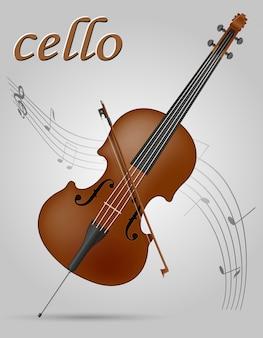 Ilustração em vetor de violoncelo instrumentos musicais