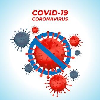 Ilustração em vetor de vírus corona com sinal de stop
