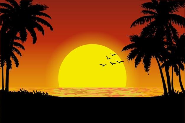 Ilustração em vetor de vista do pôr do sol em uma praia tropical