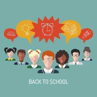 Ilustração em vetor de volta às aulas em estilo simples. formação educacional com ícones de alunos e alunos.