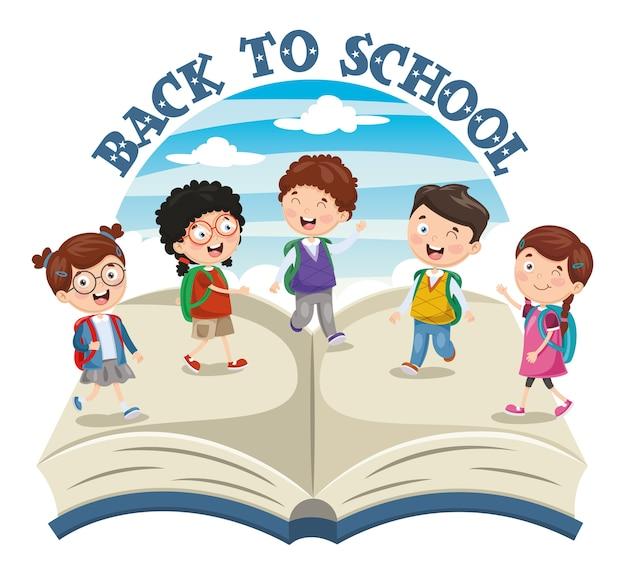 Ilustração em vetor de volta para crianças em idade escolar