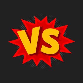 Ilustração em vetor de vs como contra letras em estilo cômico.