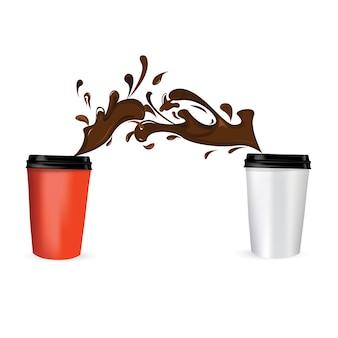 Ilustração em vetor de xícaras de café em movimento