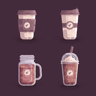 Ilustração em vetor de xícaras de café