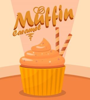 Ilustração em vetor delicioso cupcake cartoon