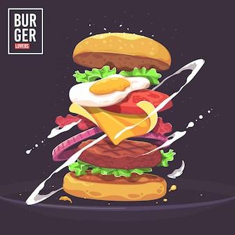 Ilustração em vetor delicioso hambúrguer