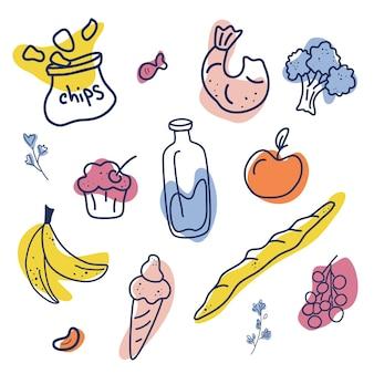 Ilustração em vetor desenhada à mão de comida conceito de cartaz de cursos de culinária com copyspace
