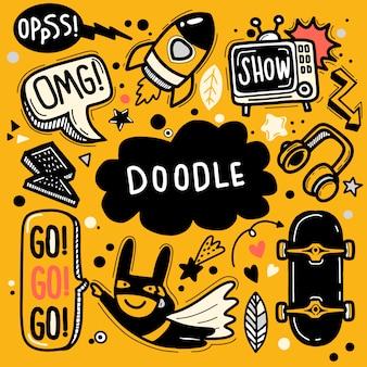 Ilustração em vetor desenhada à mão de conjunto doodle, desenho de ferramentas de linha ilustrador, design plano